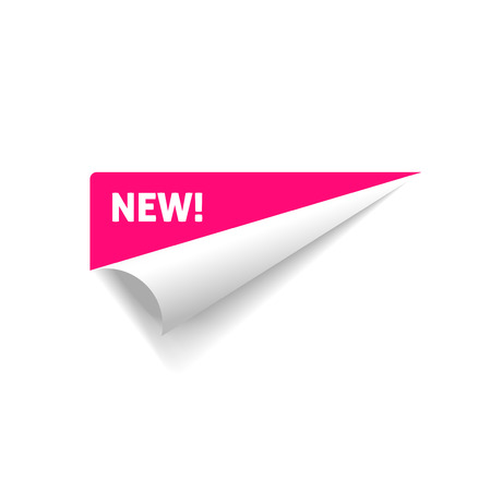 Folded corner vector, rolled paper sticker with new text sign isolated on white background