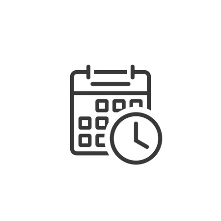 Calendar clock icon vector, line outline art of reminder symbol, event scheduling symbol isolated