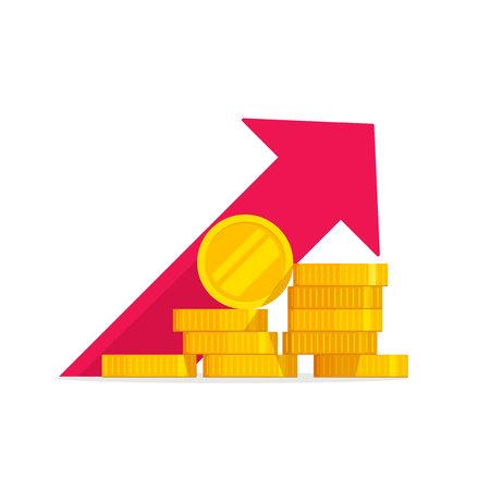 Illustrazione vettoriale di crescita del denaro, mucchio di monete d'oro del fumetto piatto con grafico delle entrate, concetto di aumento del reddito o guadagni, grafico di spinta finanziaria, investimento di capitale di successo, budget di cassa isolato