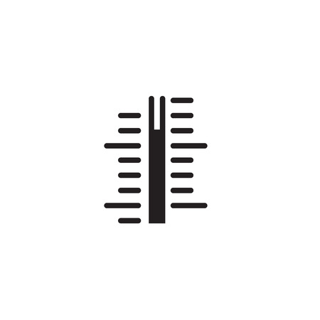 Thermometer scale vector icon, close-up indicator of measurement isolated symbol line outline design