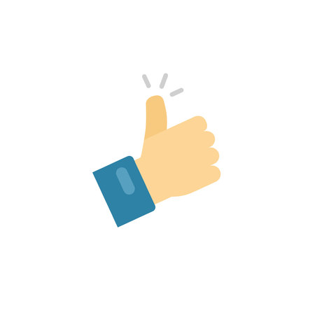 Thumb up icon vector symbol, flat cartoon thumbs-up or like sign with hand finger isolated