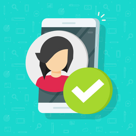 Profile with checkmark on smartphone vector, flat cartoon mobile phone user account accepted, approved or applied person sign, cellphone validation verified pictogram, authorized member