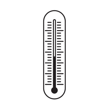 Thermometer vector illustration, line outline indicator tool of measurement isolated on white