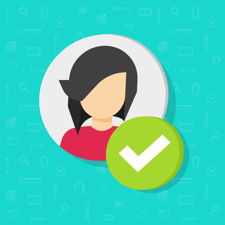 Profile with checkmark icon vector, flat cartoon woman user account accepted symbol with tick, approved or applied person sign, validation verified pictogram, authorized member