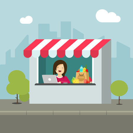 Store retail vector illustration, flat cartoon design of shop building on city street, isolated storefront facade with seller person or saleswoman