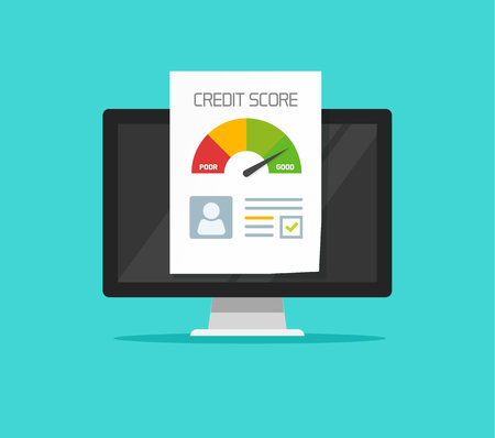 Credit score online report document on computer, flat cartoon digital ranking loan record on pc Stockfoto - 124576330