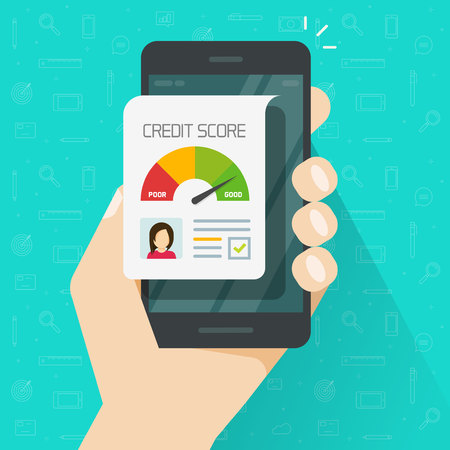 Kreditwürdigkeits-Online-Berichtsdokument auf dem Smartphone, flacher Cartoon digitaler guter Historie, der Kreditaufzeichnungen auf dem Handy-Display einordnet, Handybericht isoliert Vektorgrafik