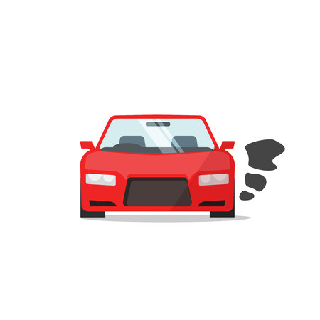 Car or vehicle engine running icon vector, flat cartoon automobile parked with started engine symbol isolated