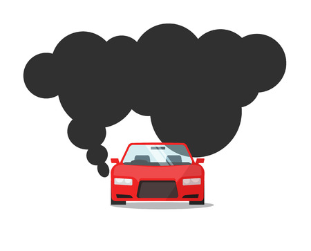 Emission CO2 of automobile fuel vector illustration, flat cartoon car with big smoke cloud gas, concept of carbon pollution