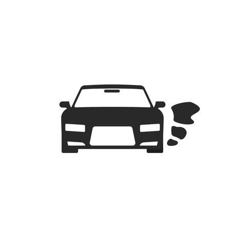 Car or vehicle engine running icon vector, black an white pictogram of automobile parked with started engine symbol isolated silhouette