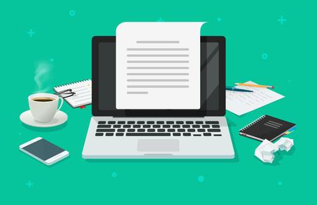 Schriftstellerarbeitsplatz und Computerpapierblattvektorillustration, flache Karikatur-3D-Texterarbeitsplatztabelle, die Draufsicht des elektronischen Lehrbuchs erstellt, Brief oder Journal über Laptop schreibt, Journalismus