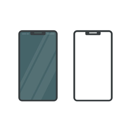 Smartphone display mockup vector illustration, flat cartoon mobile or cellular phone blank screen template isolated on white background, black shape or cellphone icon Vectores