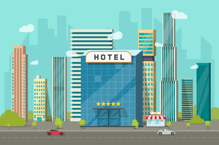 Hotel in the city view vector illustration, flat cartoon hotel building on street road and big skyscraper town landscape, font view cityscape panorama