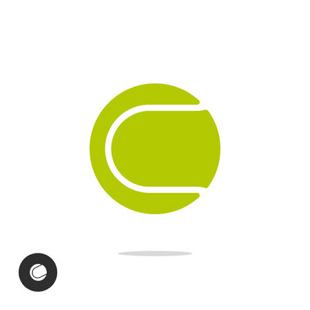 Tennis ball icon vector symbol isolated on white background