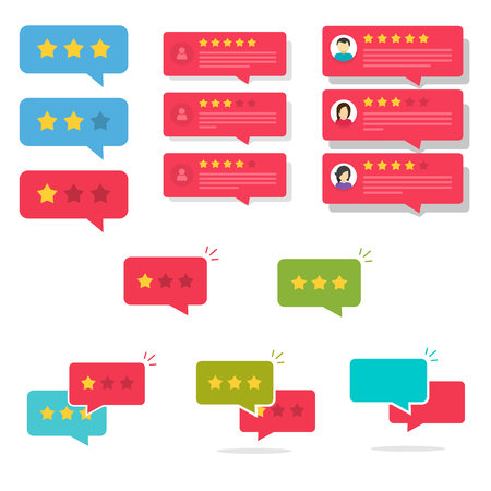 Review rating bubble speeches set vector illustration, flat cartoon reviews stars with good and bad rate, concept of testimonial messages, notification alerts, feedback evaluation