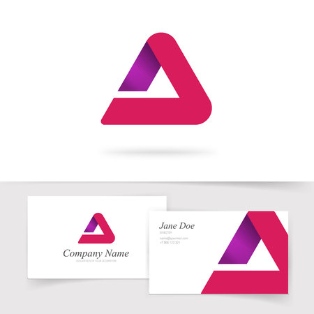 Triangle abstract vector red gradient isolated, modern trendy geometry elegant rounded symbol with business card template