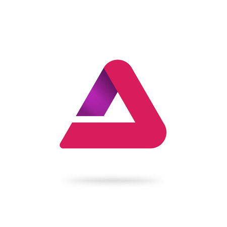 Triangle abstract vector isolated, red gradient  isolated, modern trendy geometry elegant rounded symbol