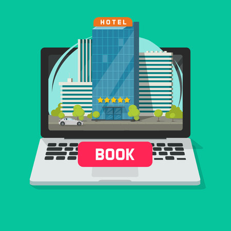Hotel booking online using computer vector illustration, flat cartoon laptop with city hotel and book button on display, reservation technology concept