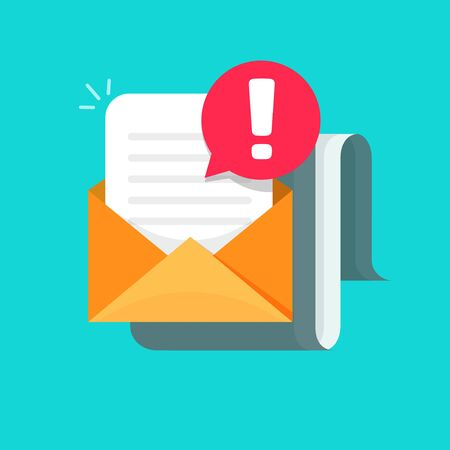 Email message with warning alert icon vector illustration, flat cartoon envelope mail with document and exclamation attention symbol, concept of virus report or caution risk letter notification
