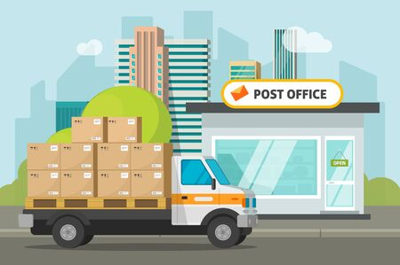 Post office on city street and cargo truck loaded parcel boxes vector illustration, flat cartoon postoffice storage building and delivery car, transportation or delivery service Иллюстрация