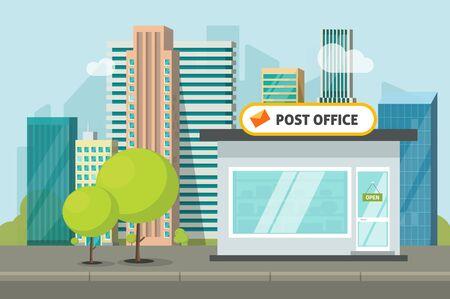 Post office on city street vector illustration, flat cartoon postoffice storage building, urban scene
