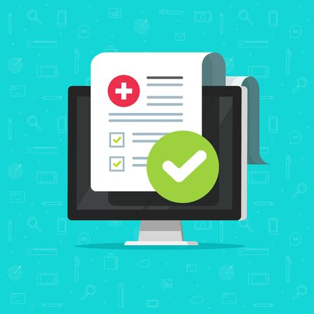 Medical form check list with results data and approved check mark online vector icon, flat cartoon computer and clinical checklist document report with checkbox, insurance or tele medicine service