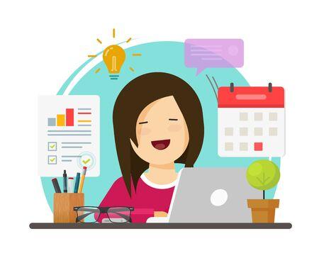 Multitasking-Geschäftsfrau, die hart, aber glücklich auf Bürotisch-Schreibtischvektorillustration arbeitet, flaches Karikaturmädchen, das lächelnd auf Arbeitsplatz sitzt und Prüfungs- oder Forschungsaufgaben erledigt, Zeitmanagementidee Vektorgrafik