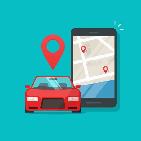 Urban transport as automobile vehicle sharing app on cellphone or mobile phone vector illustration, flat cartoon smartphone with city map and pin pointers with cars rent locations, internet taxi  イラスト・ベクター素材