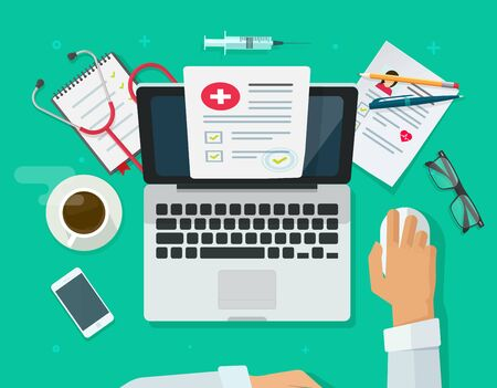 Arzt, der am Laptop arbeitet und medizinische Aufzeichnungen oder Versicherungen auf Desktop-Vektorillustrationen, flacher Cartoon-Mediziner oder Arztcheckbericht über Computer im Krankenhaus- oder Klinikbürotisch recherchiert Vektorgrafik