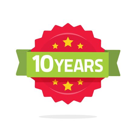 10 years anniversary logo template with green ribbon and number, flat cartoon 10th anniversary icon label, ten year birthday party symbol rosette or stamp isolated on white background