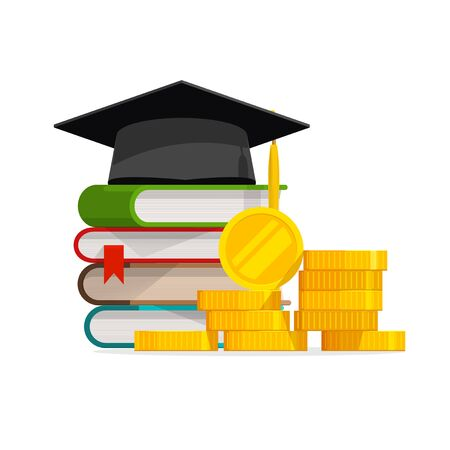 Koszt ukończenia szkoły lub kosztowna edukacja lub wektor pożyczki stypendialnej, płaskie pieniądze z kreskówek ze stosem książek i czapką lub kapeluszem, pomysł na budżet czesnego lub college, opłata za naukę uniwersytecką, zysk lub zarobki