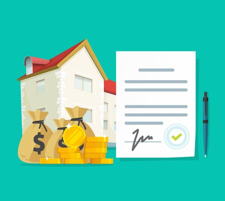 Real estate contract or property mortgage loan signed agreement vector illustration, flat cartoon house or apartment with financial document as investment or purchase, credit or rental deal budget