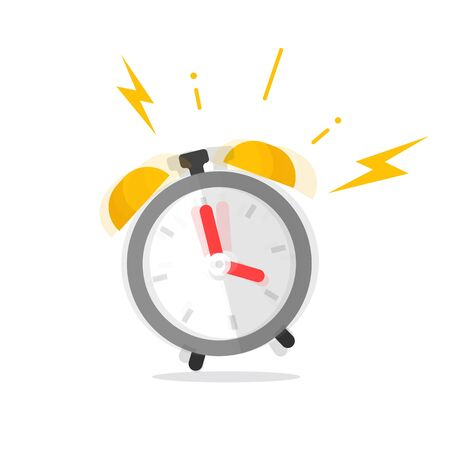 Alarm clock ringing icon vector illustration, flat cartoon grey timer ring symbol isolated on white clipart, idea of wake up time deadline alert pictogram