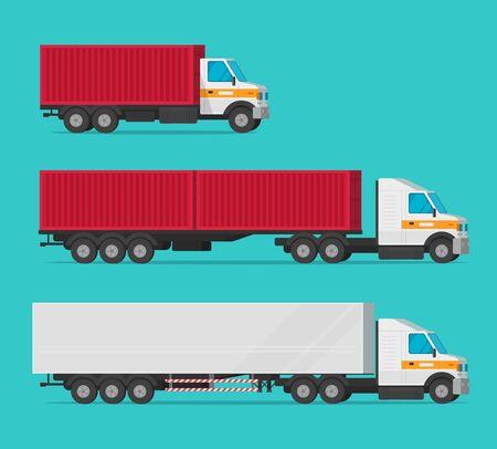 Camion ou camion de fret et automobiles de livraison ou véhicule avec ensemble de vecteurs de boîtes de conteneurs, transport de l'industrie du fret de dessin animé plat, grandes voitures de messagerie avec de grandes fourgonnettes pour l'expédition de cliparts isolés Vecteurs