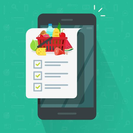 Grocery shopping list app on cellphone or smartphone vector illustration, flat cartoon mobile phone and food products list to buy with checklist or checkmarks isolated icon