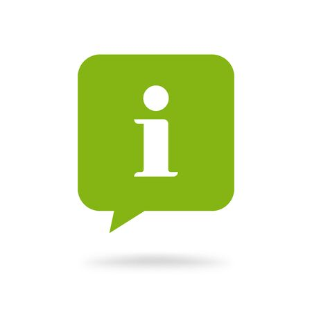 Info help sign icon vector symbol, flat green square information bubble speech mark isolated pictogram
