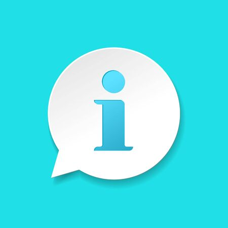 Info help sign icon vector symbol, realistic gradient shadow white and blue information bubble speech mark isolated modern pictogram image  イラスト・ベクター素材
