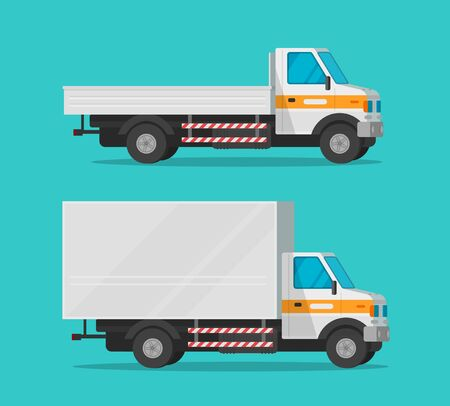 Cargo trucks or lorry and delivery automobiles or vehicle vector set, flat cartoon freight industry transport, small courier semi-truck cars and wagon vans for shipping isolated clipart