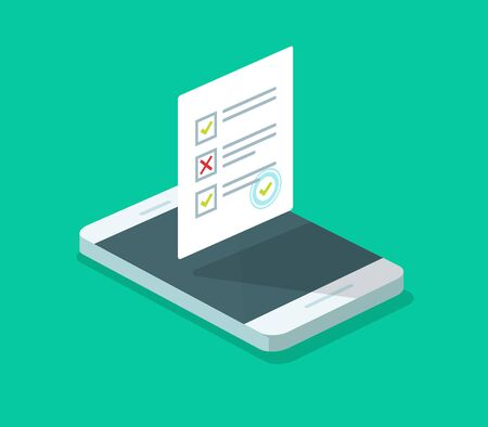 Online form survey on cellphone vector, flat isometric 3d mobile phone with quiz exam sheet document icon with approved stamp, on-line questionnaire results, check list or internet test on smartphone 向量圖像