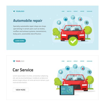 Automobile diagnostic or car test service web site template vector, flat cartoon vehicle with electronic diagnostics tools landing page banner, workshop or repair maintenance station modern design
