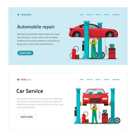 automobile repair garage service web site template vector illustration, flat cartoon mechanic or repairman person repairing vehicle in workshop banner modern design, worker man under lifted car