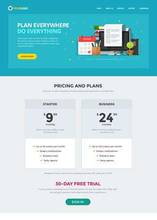 Task or to do list web site template design vector page, time or project management flat cartoon website layout, online planner modern banner design, internet organizer with document checklist