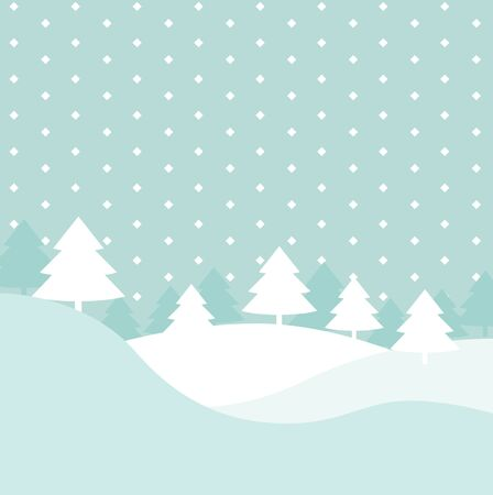 Winter hills scene with xmas fir trees and geometric snow vector background, elegant flat cartoon christmas postcard or decoration backdrop for copy space text, snowfall season forest poster