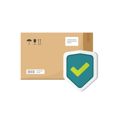 Parcel box protected with shield vector symbol, flat cartoon package icon with insurance or guarantee check isolated clipart