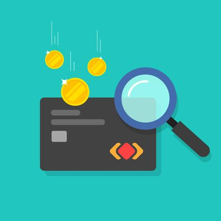Money fraud verification vector icon, flat cartoon electronic money in debit card investigation via magnifier, suspicious cash analyzing control or check, concept or financial authentication research 向量圖像