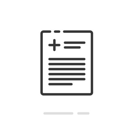 Medical prescription record or patient document vector icon, line outline art clinical paper page form with cross and text isolated, connect of medicine report symbol, agreement, results pictogram