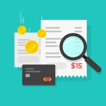 Money or payment financial analysis research or tax pay estimation vector symbol, flat cartoon receipts with credit card and magnifier as order search or online purchase invoice, expense analytics