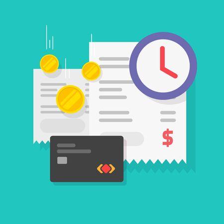 Tax payment time reminder or bill money transaction waiting vector flat cartoon image