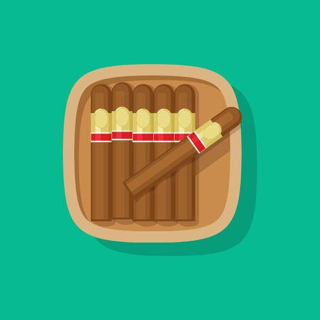 Cigar cuban wooden box or case vector icon flat cartoon design Stock Illustratie