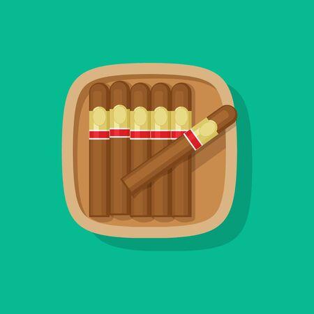 Zigarre kubanische Holzkiste oder Fallvektorikone flaches Karikaturdesign